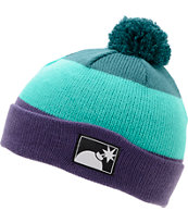 The Hundreds Tres Turquoise Pom Fold Beanie