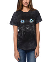The Mountain Black Kitten Face Black Boyfriend Fit Tee Shirt