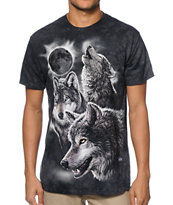 The Mountain Eclipse Wolves Charcoal Tee Shirt