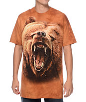 The Mountain Grizzly Growl Brown Tie Dye Tee Shirt