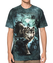The Mountain Night Wolves Collage Tie Dye Tee Shirt