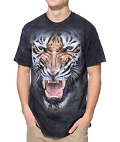 The Mountain Nightscape Tiger Charcoal Tie Dye Tee Shirt