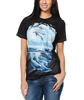The Mountain Women's Dancing Dolphins Black Boyfriend Tee Shirt