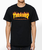 Thrasher Flame Logo Black Tee Shirt