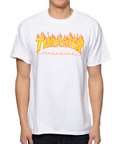 Thrasher Flame Logo White Tee Shirt