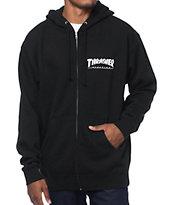 Thrasher Logo capucha negra con cierre de cremallera