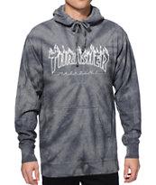 Thrasher Silver Flame Logo Tie Dye Hoodie