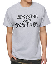Thrasher Skate And Destroy Grey Tee Shirt