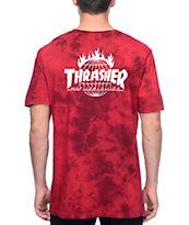 Thrasher X HUF Crystal camiseta con efecto tie dye en rojo