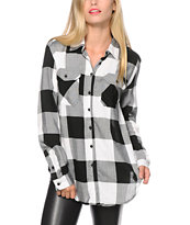 Thread & Supply Oversized Black Plaid Shirt