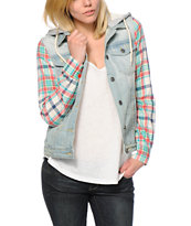 Thread & Supply Pink & Blue Plaid Sleeve Denim Jacket