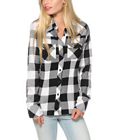 Thread & Supply Stretch Black Plaid Shirt