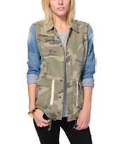 Thread and Supply Camo Print Denim Jacket