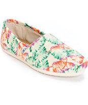 Toms Classic Tropical Floral Burlap Women's Shoes
