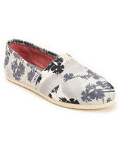 Toms Classics Grey Palm Trees Women's Slip On Shoes