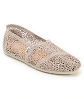 Toms Classics Silver Crochet Women's Slip On Shoes
