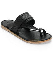 Toms Isabela Black Leather Sandals