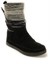 Toms Nepal Black Wool Striped Women's Boots