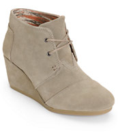 Toms Taupe Suede Desert Wedge Shoes