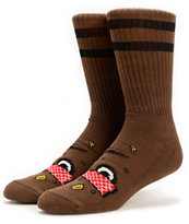 Toy Machine Poo Poo Head Brown Crew Socks