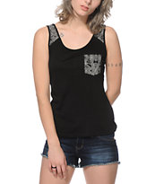 Trillium Addie Black & White Tribal Tank Top