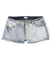 Trillium Bandana Piecing Medium Wash Denim Shorts