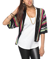 Trillium Black & Neon Tribal Print Cardigan Sweater