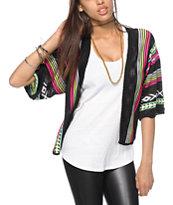 Trillium Black & Neon Tribal Print Cardigan Sweater