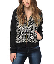 Trillium Black & White Tribal Fleece Bomber Jacket