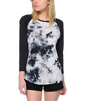 Trillium Briana Black & White Tie Dye Baseball T-Shirt