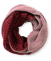 Trillium Burgundy Stripe & Crochet Infinity Scarf