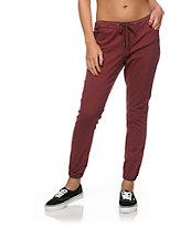 Trillium Burgundy Twill Drawstring Jogger Pants