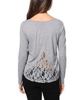 Trillium Carson Grey Lace Top