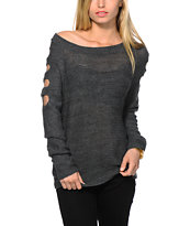 Trillium Cold Shoulder Charcoal Sweater