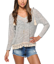Trillium Hacci Crochet Trim Hooded Top
