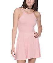 Trillium High Neck Strappy Pink Dress