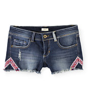 Trillium Jacquard Taping Dark Wash Denim Shorts