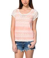 Trillium Kelsey Coral Crochet Top