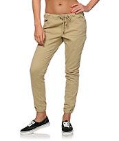 Trillium Khaki Twill Drawstring Jogger Pants