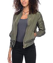 Trillium Lena Olive Bomber Jacket