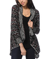 Trillium Mable Charcoal & Burgundy Tribal Cardigan