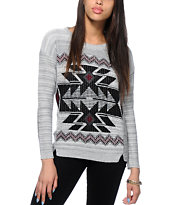 Trillium Marled Tribal Crew Neck Sweater