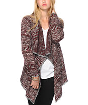 Trillium Maroon & Black Tribal Sweater
