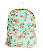 Trillium Mint Floral Print Backpack