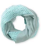 Trillium Mint Stripe & Crochet Infinity Scarf