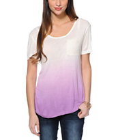 Trillium Nelly Natural & Lavender Crochet Pocket Tee Shirt