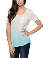 Trillium Nelly Natural & Mint Crochet Pocket Tee Shirt