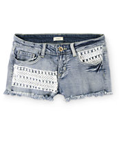 Trillium Pom Crochet Medium Wash Denim Shorts