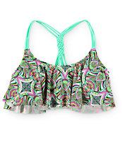 Trillium Tiki Tribal Macrame Back Flounce Bikini Top