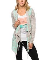 Trillium Tonya Mint & Grey Fringe Sweater